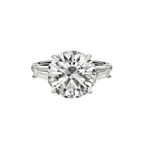 5.83 Carat Round Brilliant Cut Engagement Ring with Tapered Baguettes