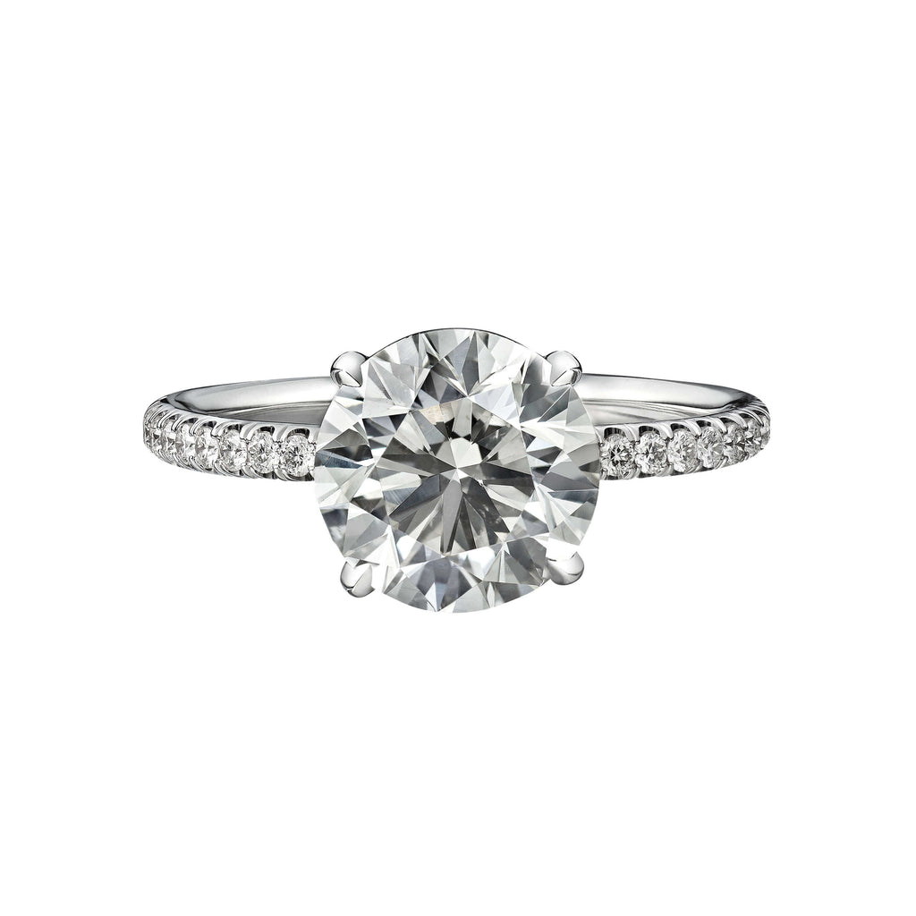 2.50 Carat Round Brilliant Cut Engagement Ring with Diamond Pavé