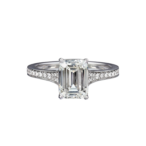 2.02 Carat Emerald Cut Engagement Ring with Bright Cut Pavé
