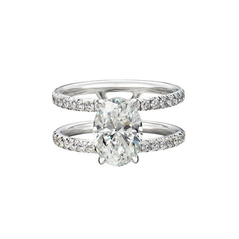 2.09 Carat Oval Cut Engagement Ring with Double Diamond Pavé