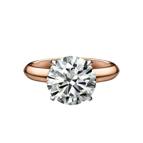 3.63 Carat Round Brilliant Cut Solitaire Engagement Ring with Knife Edge Setting