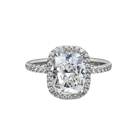 3.01 Carat Cushion Cut Engagement Ring with Pavé Halo