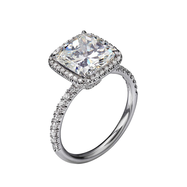 4.03 Carat Cushion Cut Engagement Ring with Pavé Halo