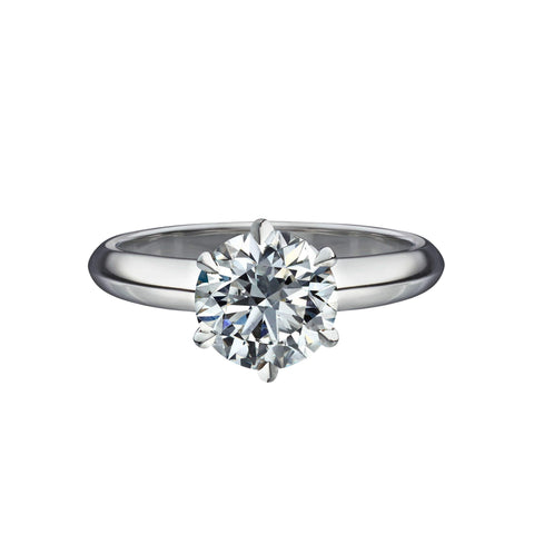 1.55 Carat Round Brilliant Cut Solitaire Engagement Ring with 6 Prong Setting