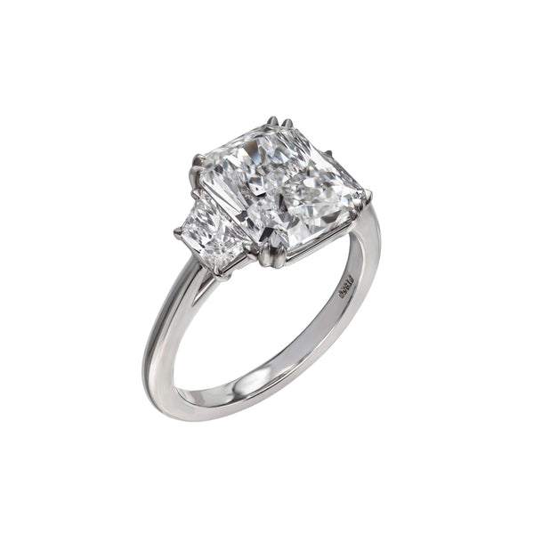 4.10 Carat Radiant Cut Engagement Ring with Trapezoids