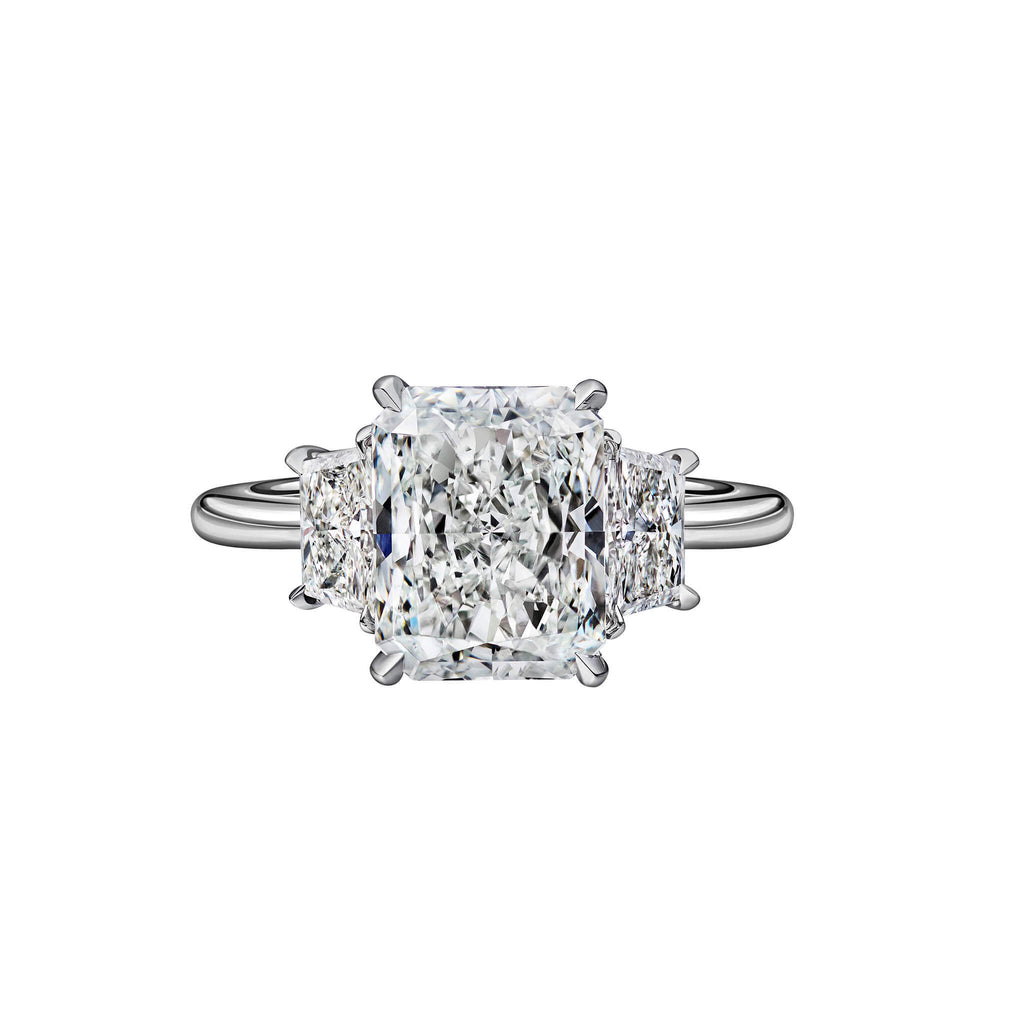 3.01 Carat Radiant Cut Engagement Ring with Trapezoids