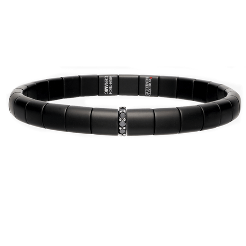 Men's Matte Black Ceramic Bracelet with Diamond Bar