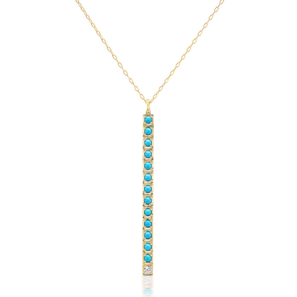 Vertical Turquoise Bar Necklace