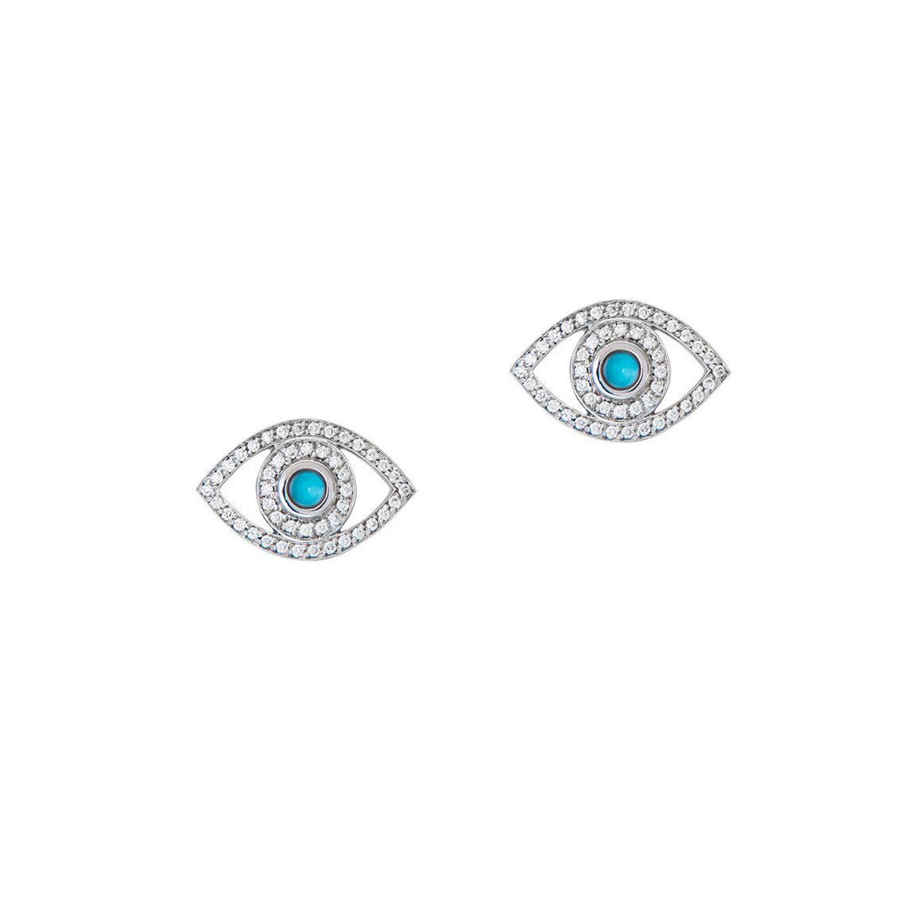 Mini Diamond and Turquoise Eye Earrings