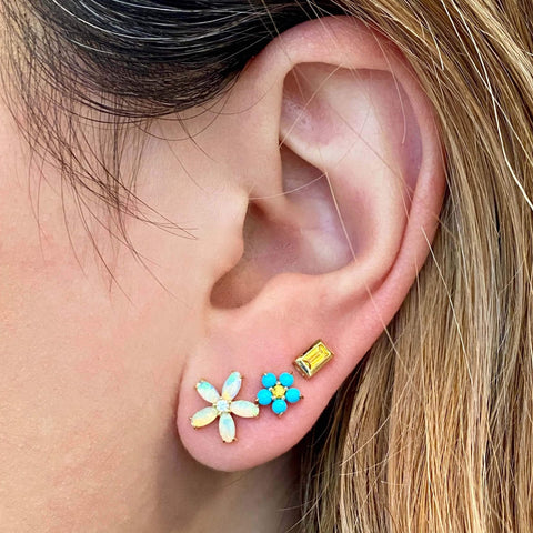 Petite Turquoise Floral Studs