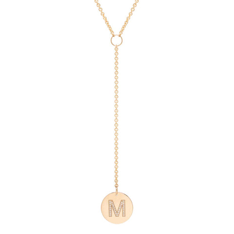 Pave Initial Disc Lariat Necklace
