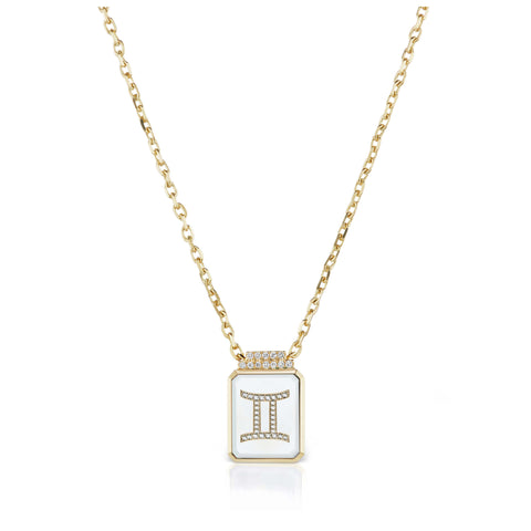 Gemstone & Symbol Signet Necklace