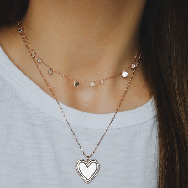 Diamond and Enamel Heart Necklace