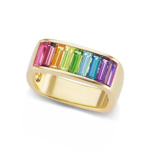Medium Square Cirque Rainbow Band with Baguettes