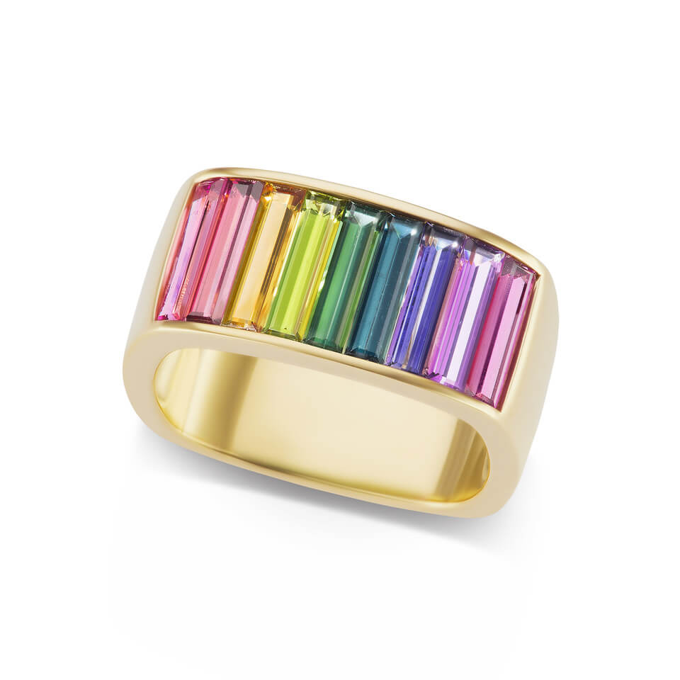 Wide Square Cirque Rainbow Band with Baguettes
