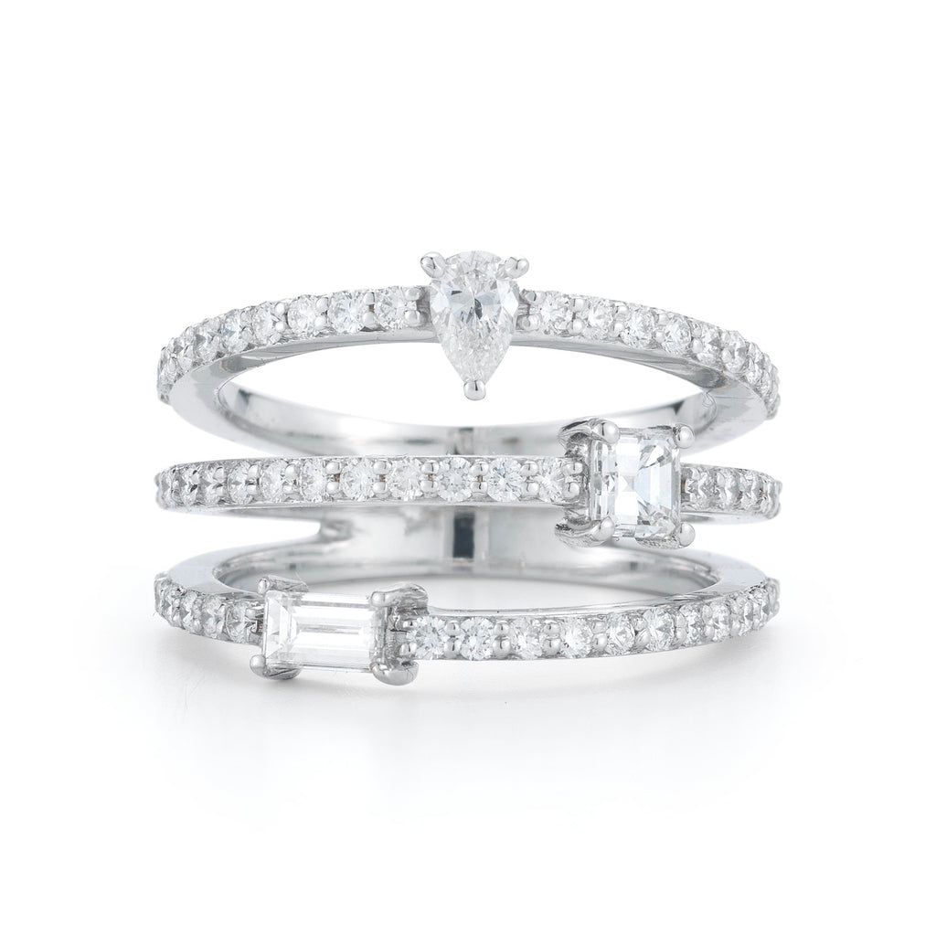 Multi Shape Diamond Three Band Ring