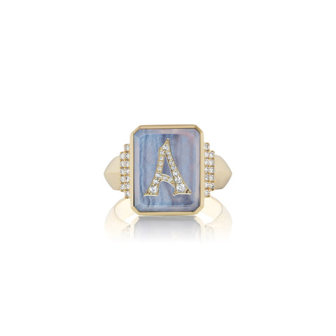 Gemstone & Initial Signet Ring