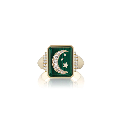 Gemstone & Symbol Signet Ring