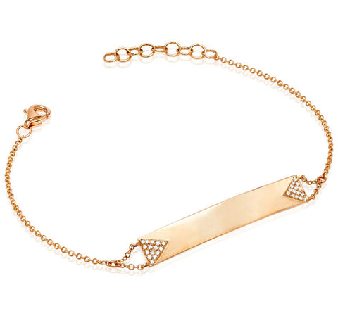 Double Triangle Nameplate Bracelet