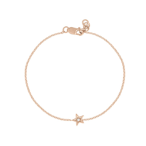 Star Bracelet with Single Diamond