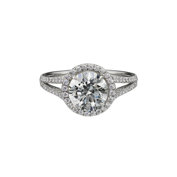 1.79 Carat Round Brilliant Cut Engagement Ring with Split Shank Pave Setting
