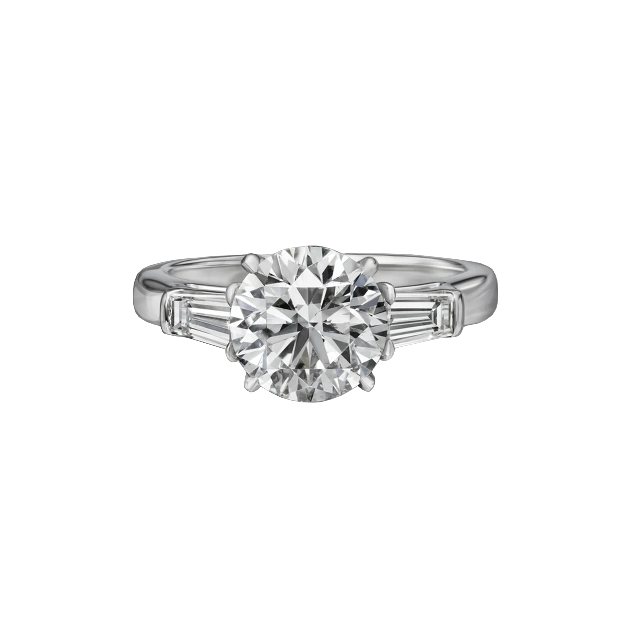 2.30 Carat Round Brilliant Cut Engagement Ring with Tapered Baguettes