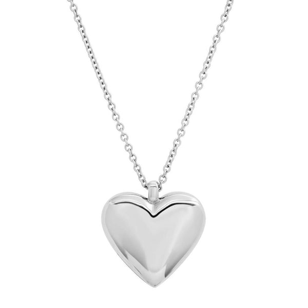 Reversible Diamond and Gold Puffy Heart Necklace