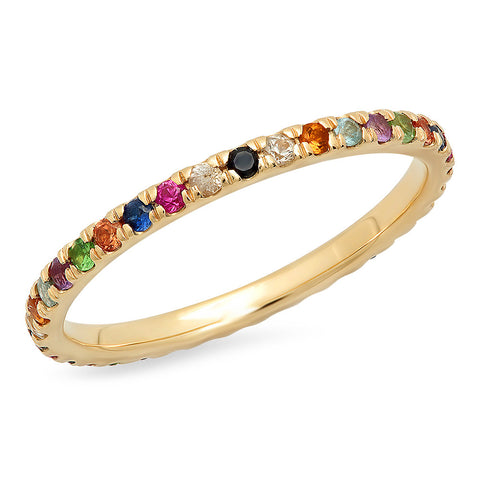 Multicolored Gemstone Eternity Band