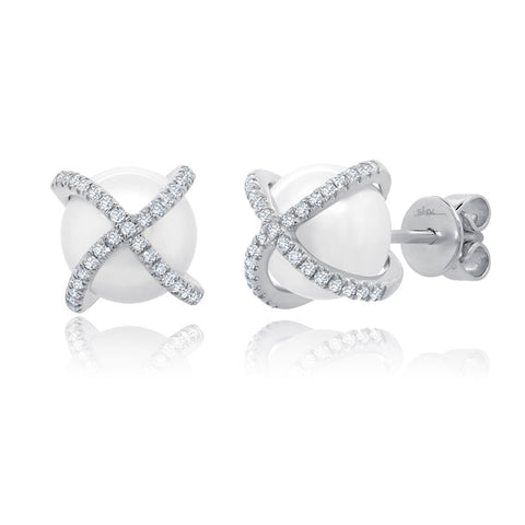 Criss-Cross Pearl Stud Earrings