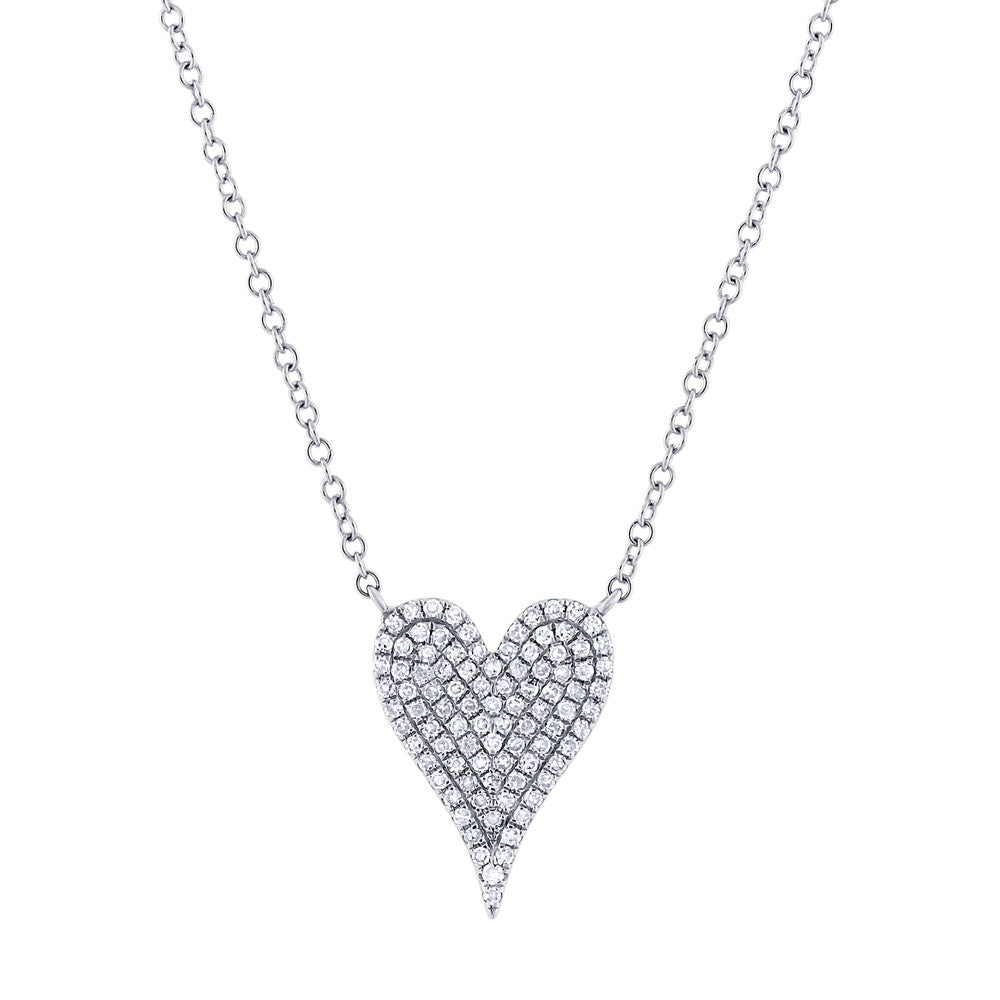 diamond heart sterling jewellery silver necklace