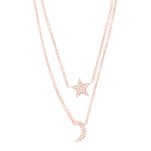 Double Chain Pave Moon and Star Necklace