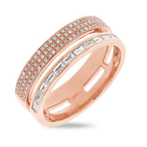 Baguette and Pave Double Diamond Bar Ring