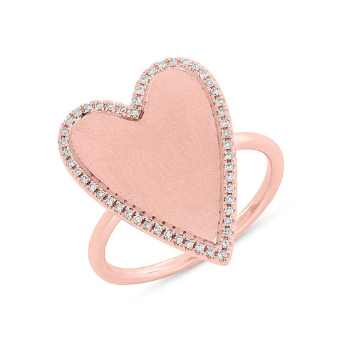 In Stock - Jumbo Heart Ring with Pave Outline - Size 7