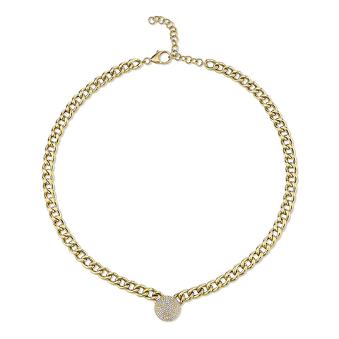 Cuban Link Choker with Puffy Pave Disc