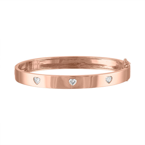 Triple Diamond Heart Bangle