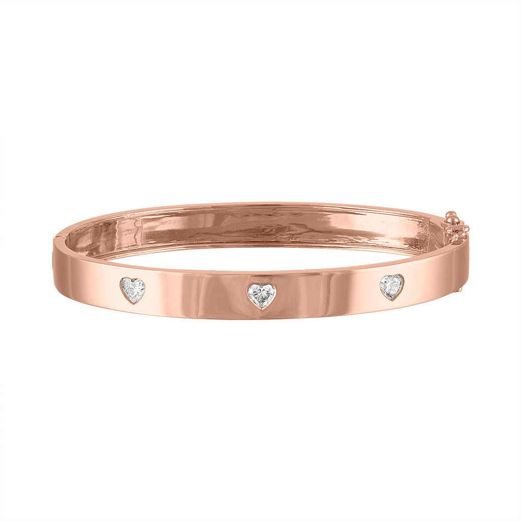IN STOCK - XS Rose Gold Triple Diamond Heart Bangle