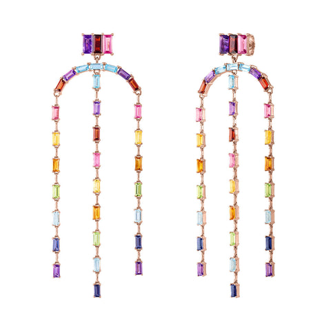 Rainbow Baguette Drop Earrings