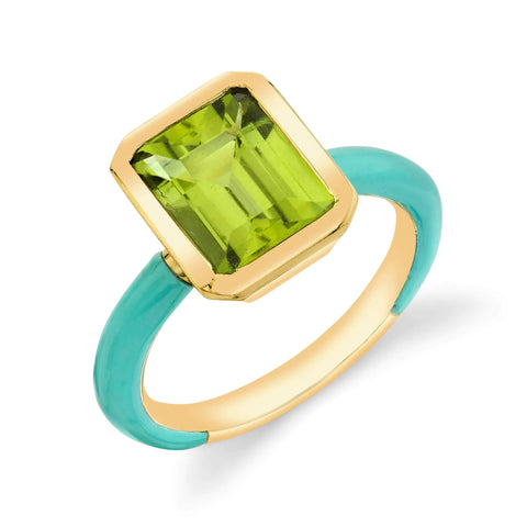 Enamel Shirley Bezel Set Emerald Ring
