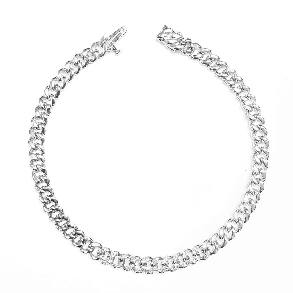 Men's Partial Diamond Flat Link Bracelet
