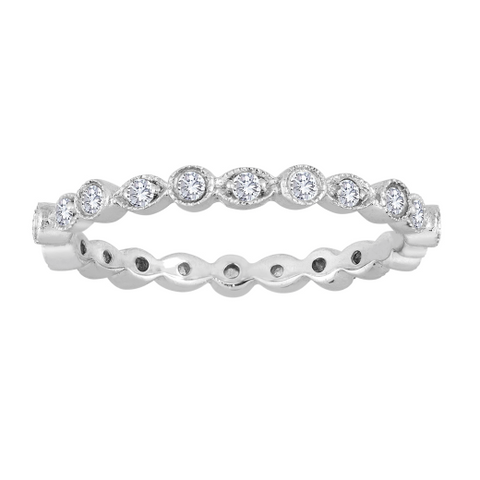 Alternating Bezel and Leaf Diamond Ring