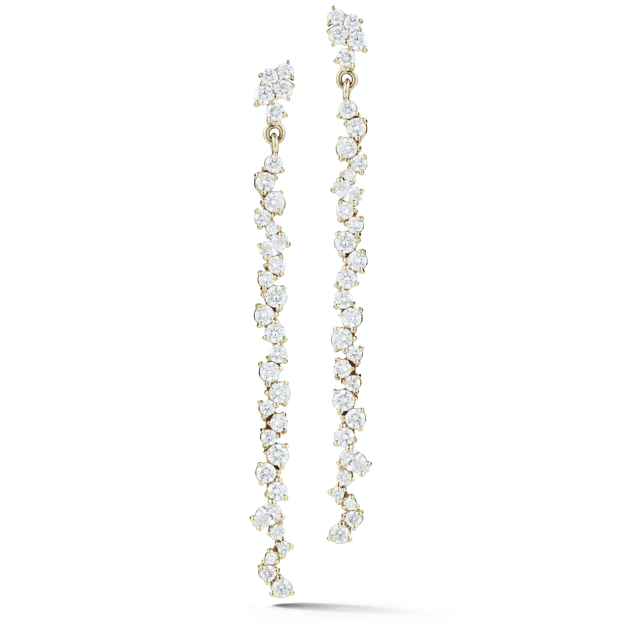 platinum drop of diamond earrings and long