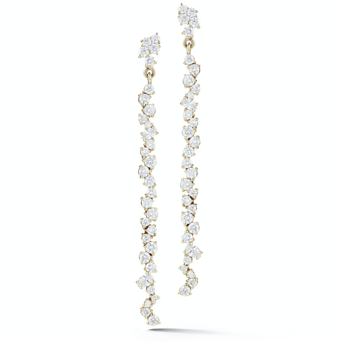 Long Cluster Diamond Earrings
