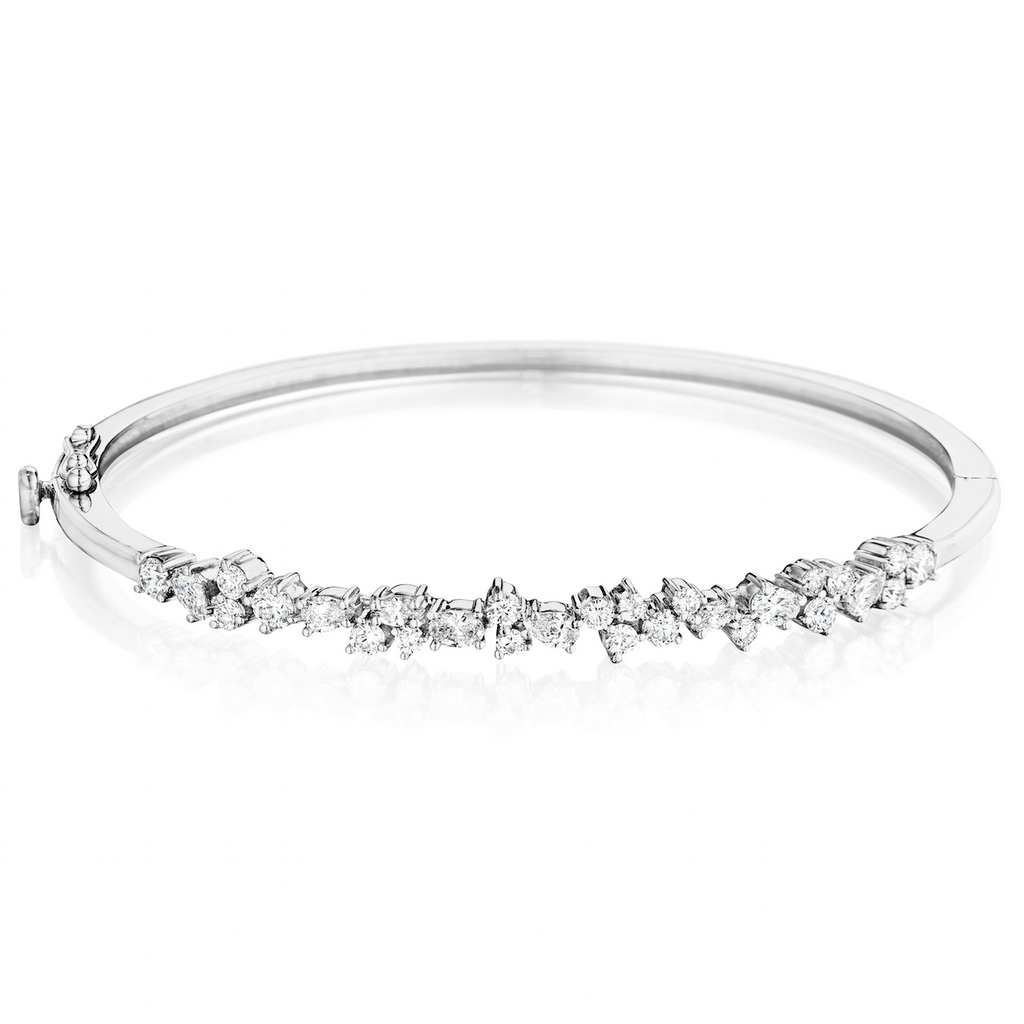 Multi Shape Diamond Cluster Bangle