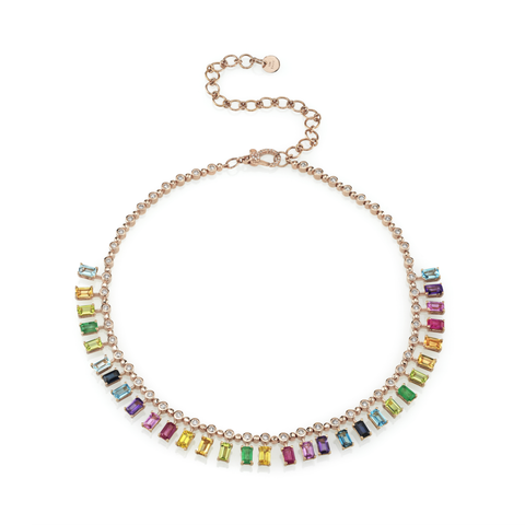 Dot-Dash Gemstone Necklace