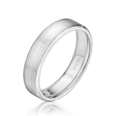 5mm Flat Comfortable Fit Wedding Band with Rounded Bright Edge