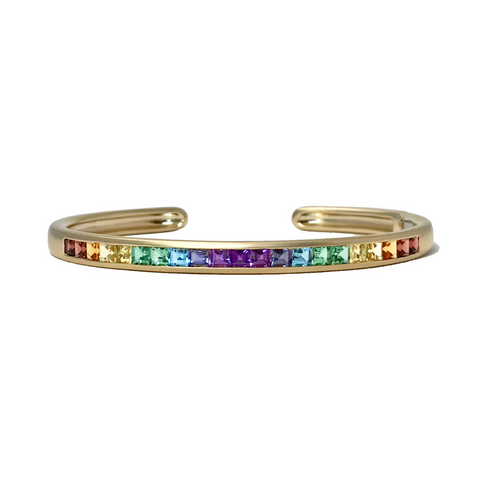 Oval Cirque Cuff with Rainbow Squares