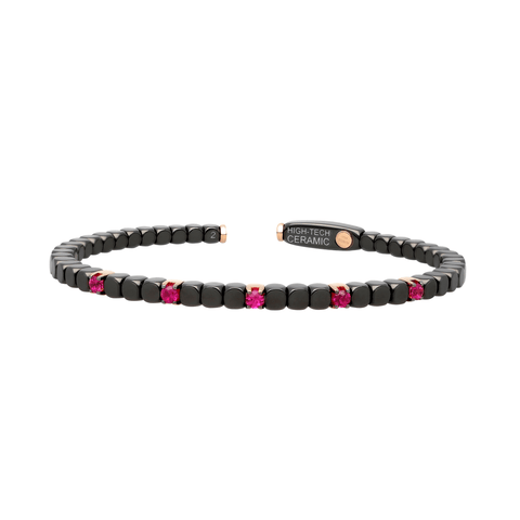 Women's Matte Black Ceramic Dado Bracelet with Five Colored Stones