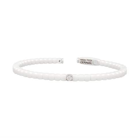 Women's White Ceramic Dado Bracelet with Single Diamond