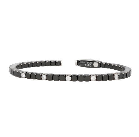 Women's Matte Black Ceramic Dado Bracelet with Five Diamonds