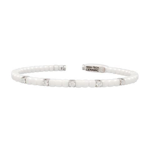 Women's White Ceramic Dado Bracelet with Five Diamonds